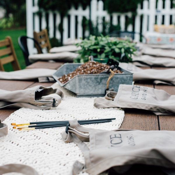 aprons on picnic table