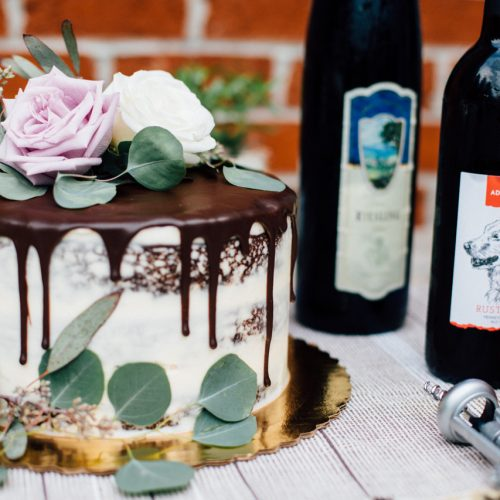 close up of chocolate cake and wine